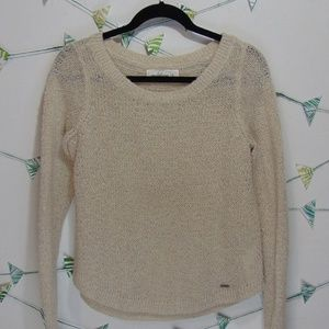 A&F Cream Gold Crewneck Knit Sweater